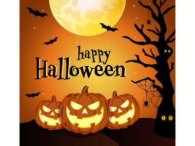 Halloween orange bats pumpkins spooky halloween