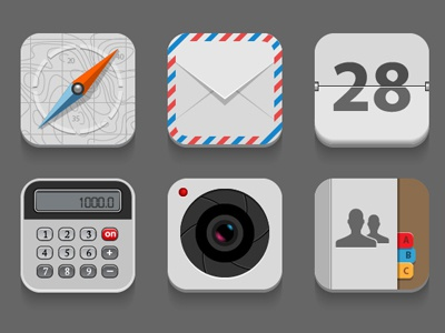 Flat Icons compass mail calendar calculator camera contacts icon vector