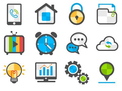 Flat Icon Set phone icon home icon lock icon folder icon media icon clock icon forum icon upload icon idea icon statistics settings icon pin icon