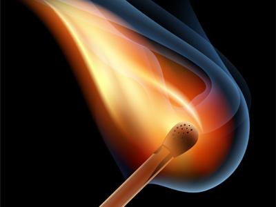 Vector Burning Match  match fire light flame smoke gradient mesh tutorial