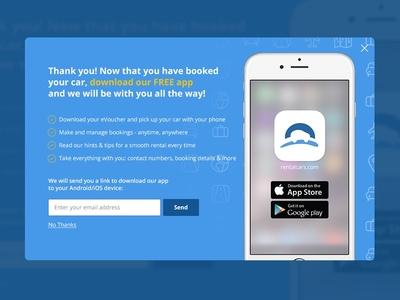 rentalcars.com Download app modal