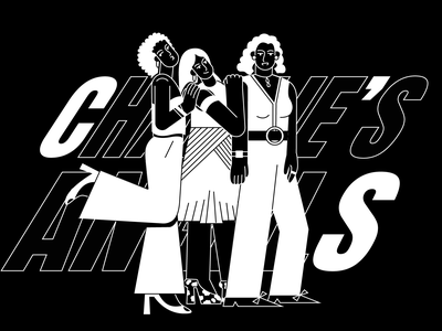Charlie's Angels black and white illustration