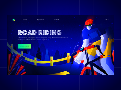 Sport website-Personal illustration exercise riding blue flat illustration cycling sport website