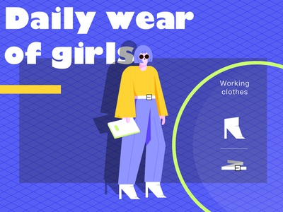 Daily wear of girls-free illustration blue clothes characterdesign flat illustration