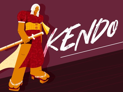Kendo girl-Personal illustration exercise warrior kendo red clothes characterdesign flat illustration