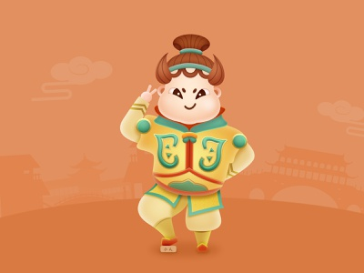 Free practice_Ancient Chinese character illustration characterdesign