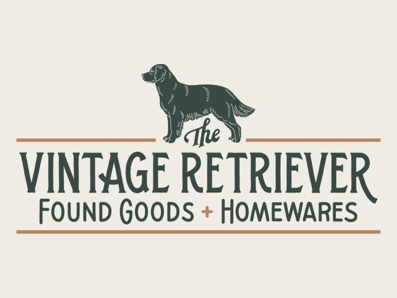 The Vintage Retriever branding dog retriever hand lettering lettering illustration