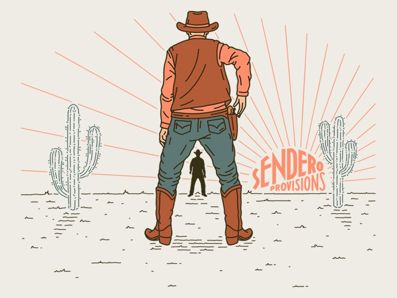 Quick Draw desert cactus saguaro sendero cowboy western illustration