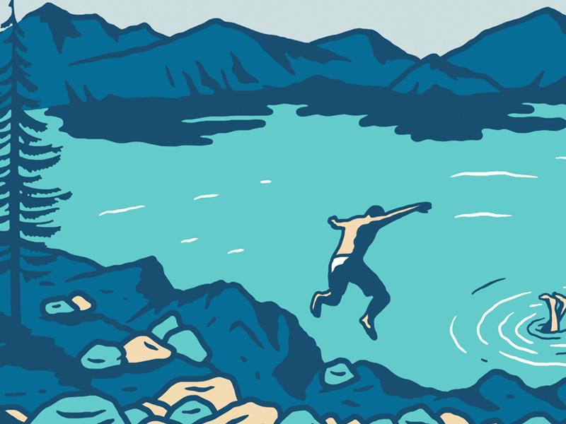 Crater Lake National Park illustration sendero national park crater lake