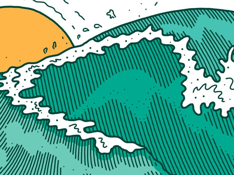 Wave sun wave beach illustration