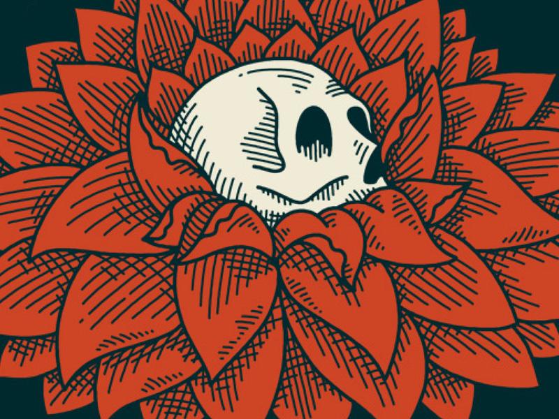 Bloom skull flower illustration
