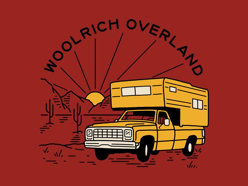 Woolrich Overland truck desert camper overland woolrich lettering illustration