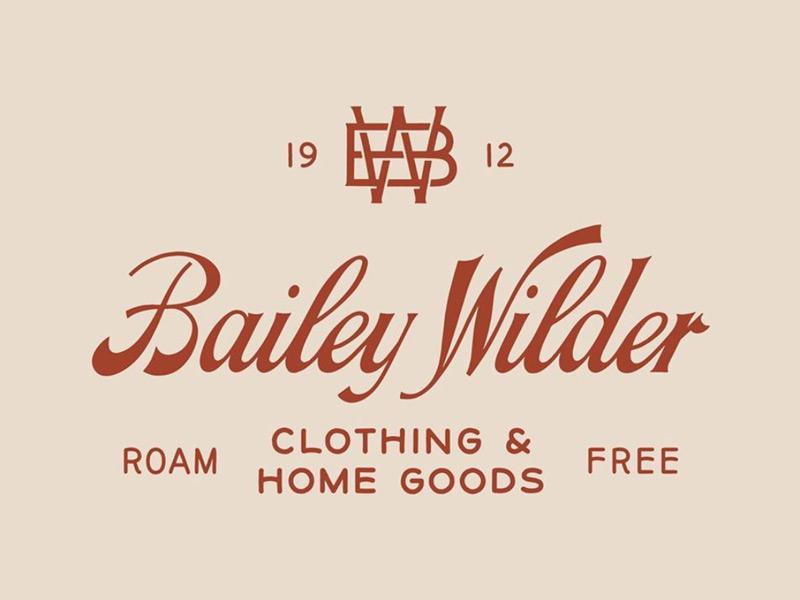 Bailey Wilder 01 logo monogram script branding type typography hand lettering lettering