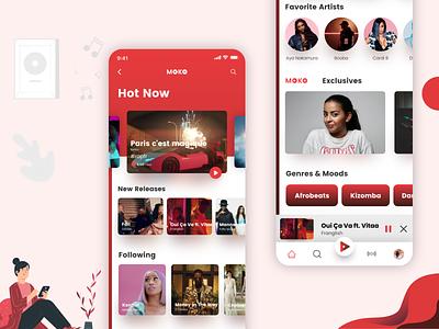 Moko Music App UI Design flat  design typography vector icons design graphic design illustration freebie ui app design mobile moko