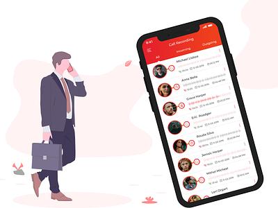 Call Recording App UI Design branding ux mobile digital appdesigner stadvanontdekkingen didyouknow interface design appdesign flatui ui vector illustration design graphic design illustrator icons recordings clean app
