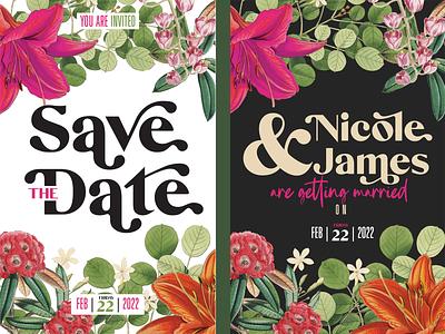 Save the Date floral wedding invitation invitation romance love married wedding
