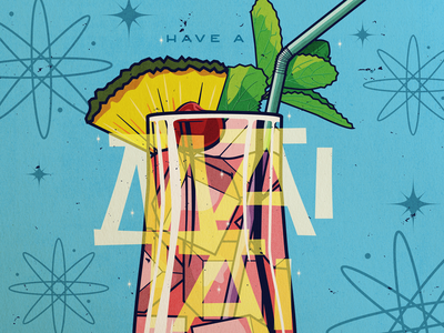 Mai Tai mid century modern mai tai alcohol drink illustration retro mint leaves pineapple cocktails