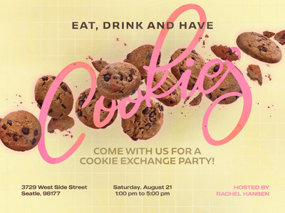 Eat Drink and have Cookies banner design cute party bake sale food event poster canva cookies ad banner