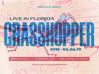 Grasshopper Live In Florida gig performance band event insect bug grasshopper canva banner gig poster