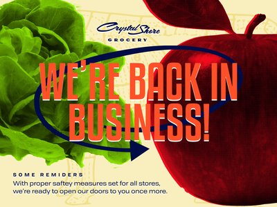 back in business apple business back in business canva poster banner ad grocery store