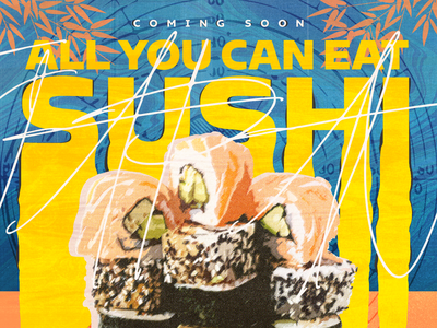all you can eat sushi coming soon restaurant canva ad banner sushi bar sushi