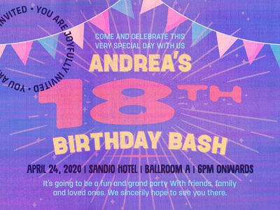 Andrea's Birthday celebrate party birthday ad canva banner poster
