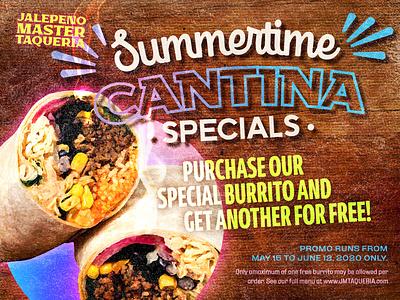 Jalepeno Master Taqueria taqueria cantina summertime food burrito special design canva ad poster banner