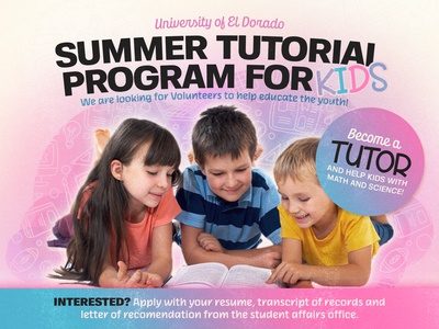 Summer Tutorial Program for Kids design canva ad poster banner school tutor students tutoring kids
