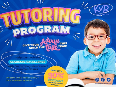 Summer Learner Tutoring Program design canva ad poster banner academics learning school summer tutoring
