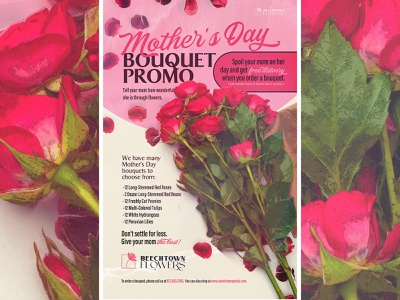 MOTHERS DAY design ad poster canva sale promo mom roses bouquet flowers mothers day