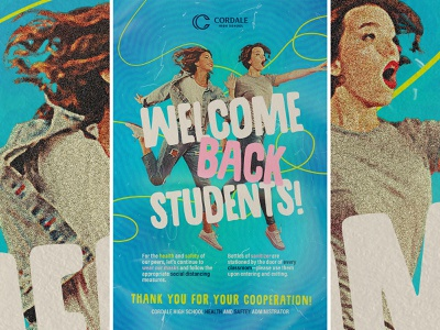 WELCOME BACK STUDENTS design poster canva saftey health covid high school school students