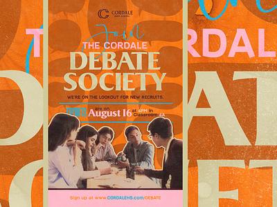 Debate society design canva ad poster banner academics club school debate high school