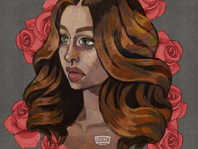 Roses digital painting digital art portrait lady woman illustration