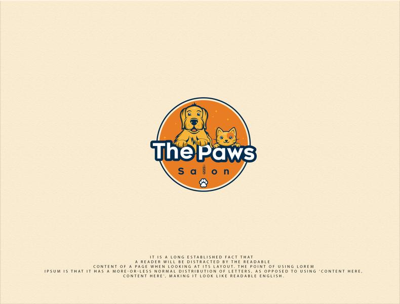 The Paws Salon illustration flat design vector logo