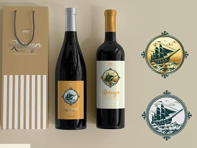 Flagship bottle design for the company REISINGER logo graphic design