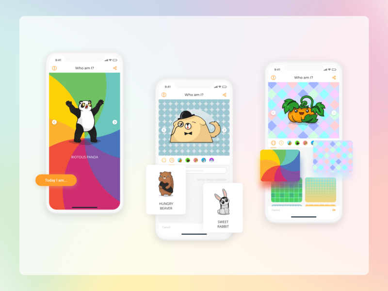 WhoAMIToday mood button mobile app characters colors rainbow search mobile uiux uiux uidesign app icon ux vector branding logo ui illustrator design illustration