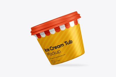 Mini Ice Cream Tub Psd Mockup Free Download