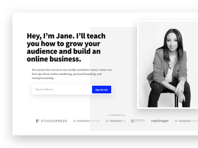 Hero section minimalism email form email opt-in hero