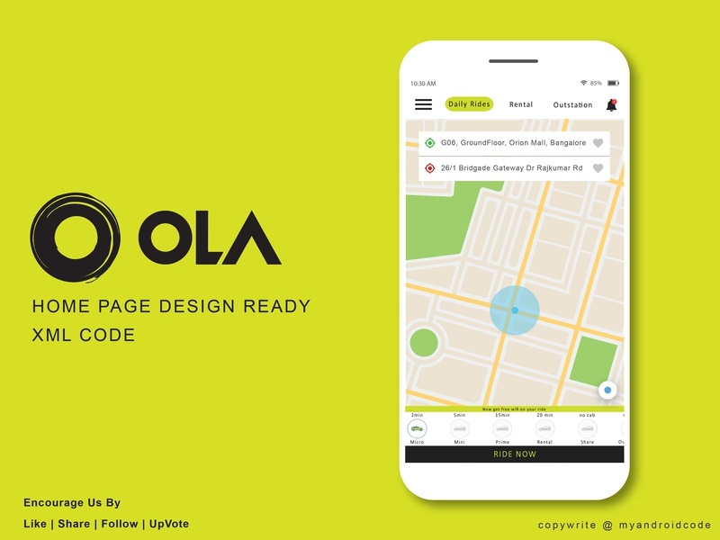 OLA Cab - Home Page UI taxi taxi app ola cab minimal website icon flat web typography vector branding logo ui illustration app android ux design