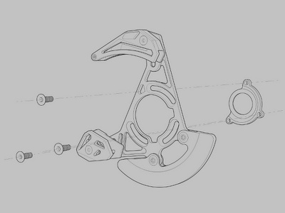 Chain Guard Exploded G part illustration illustration part 3d modelling technical illustration technical illlustrator mountain bike part 3d illustration 3d illustrator chain guard illustration