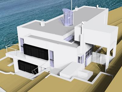 E 1027 Illustration Model Preview 6 e.1027 house e 1027 house e1027 house eileen gray architecture eileen gray house e 1027 illustration architectural illustration
