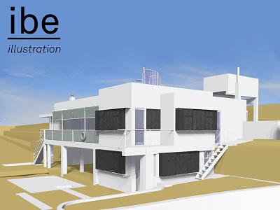E 1027 Illustration Model Preview 8 e.1027 house e 1027 house e1027 house eileen gray architecture eileen gray house e 1027 illustration architectural illustration