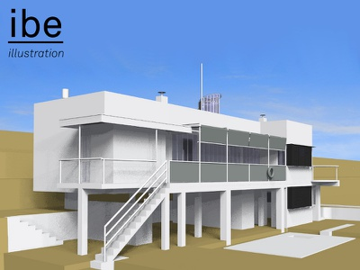 E 1027 Illustration Model Preview 9 e.1027 house e 1027 house e1027 house eileen gray architecture eileen gray house e 1027 illustration architectural illustration