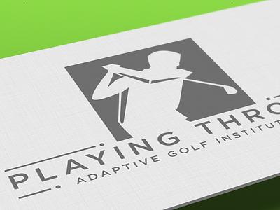 Playing Through Adaptive Golf Logo logo branding ai business card golf