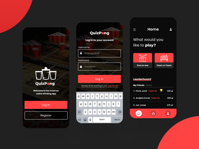 QuizPong App illustration clean ui clean interfacedesign app typography interface ux ui design