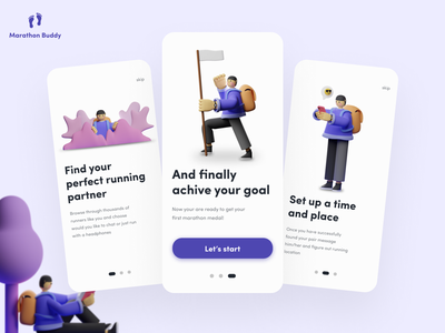 Marathon Buddy Onboarding icon 3d app clean ui typography interfacedesign ux interface ui