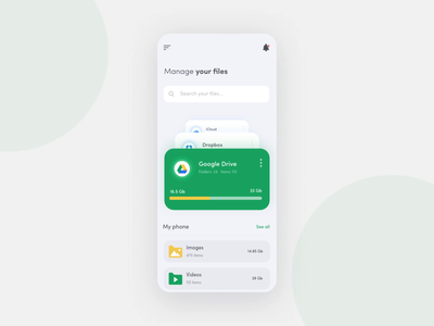 File Manager App after effect animation app motion design clean ui interfacedesign interface design ux ui