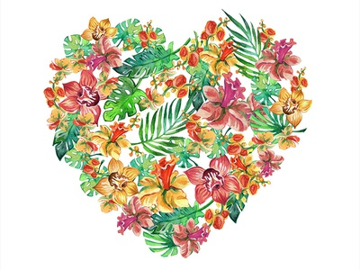 Watercolor flower heart flower illustration tropical leaves flowers surface pattern design surface pattern watercolour background watercolor illustration watercolor surface design summer illustration pattern illustration design clip art clipart branding aquarell