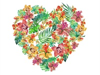 Watercolor flower heart