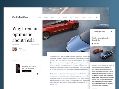 The New York Times article concept layout grid tesla webdesign clean redesign thenewyorktimes article newspaper